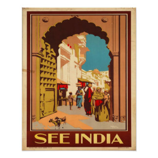 Veja India - poster das viagens vintage