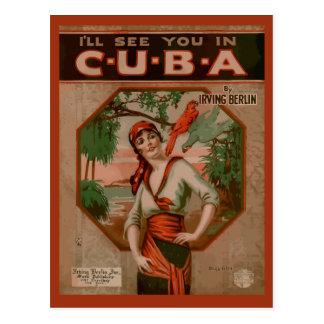 Veja-o em Cuba, cobrir retro da partitura Cartão Postal