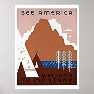 Veja viagem de América, Montana WPA Pôster