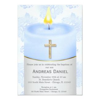 Vela azul do baptismo convite 12.7 x 17.78cm