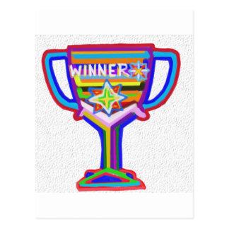 VENCEDOR: A mão crafted o troféu: Incentive a Cartão Postal