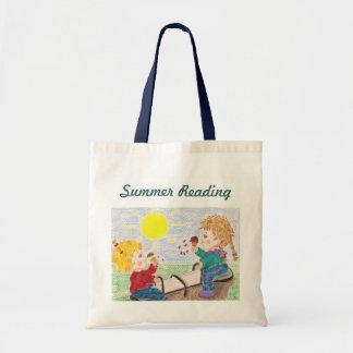Verão que lê a sacola pequena bolsas de lona