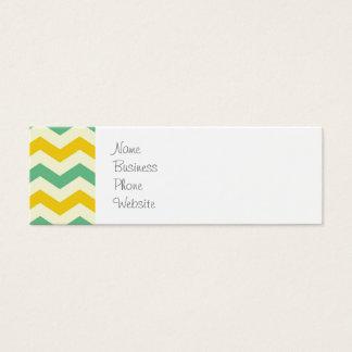 Verde amarelo dos ziguezagues de Chevron do Cartão De Visitas Mini