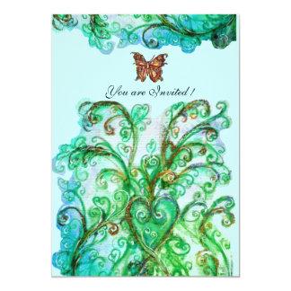 Verde azul brilhante dos FLOURISHES LUNÁTICOS Convite 12.7 X 17.78cm