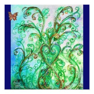 Verde azul brilhante dos FLOURISHES LUNÁTICOS Convite Quadrado 13.35 X 13.35cm