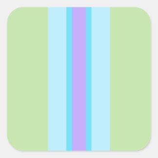 Verde, azul, roxo listrado adesivo quadrado