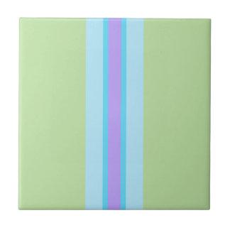 Verde, azul, roxo listrado azulejo quadrado pequeno
