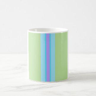 Verde, azul, roxo listrado caneca de café