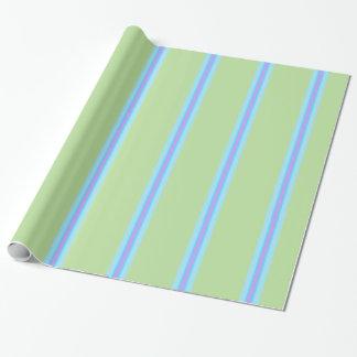 Verde, azul, roxo listrado papel de presente
