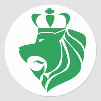 Verde coroado reggae do leão de Rasta Adesivos Redondos
