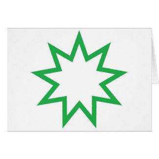 Verde da estrela de Bahai Cartão