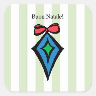 Verde da etiqueta do ornamento do diamante de Buon Adesivo Quadrado
