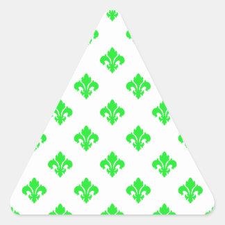 Verde da flor de lis 1 adesivos em forma de triângulo
