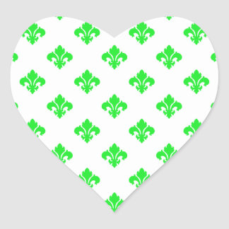 Verde da flor de lis 1 adesivo de coração