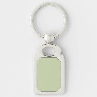 Verde da flor de lis para o casamento francês do chaveiro retangular cor prata