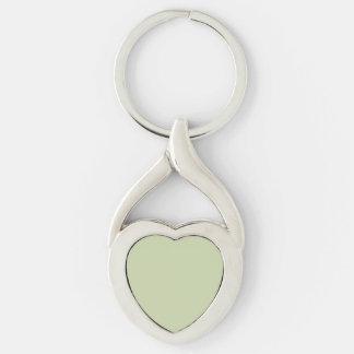 Verde da flor de lis para o casamento francês do chaveiro coração torcido cor prata