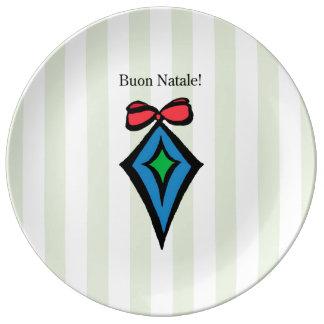 Verde da placa da porcelana do ornamento do prato de porcelana