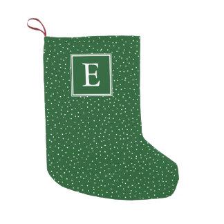Verde | da queda de neve | do monograma bota de natal pequena