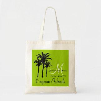 Verde das palmeiras das sacolas do casamento do de bolsa tote