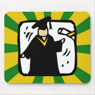 Verde de recepção graduado & ouro do diploma (2) mouse pad