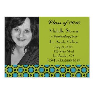 verde de turquesa da graduação convite 12.7 x 17.78cm