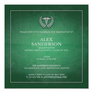 Verde do anúncio   da graduação da Faculdade de Convite Quadrado 13.35 X 13.35cm