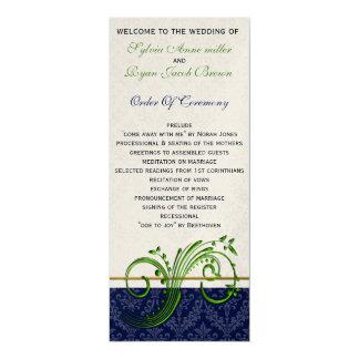 """verde do damasco e programa do casamento do convite 10.16"""" x 23.49cm"""