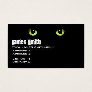 Verde dos olhos de gato preto cartão de visitas