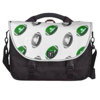Verde e cinzas teste padrão de prata do futebol bolsas para notebook