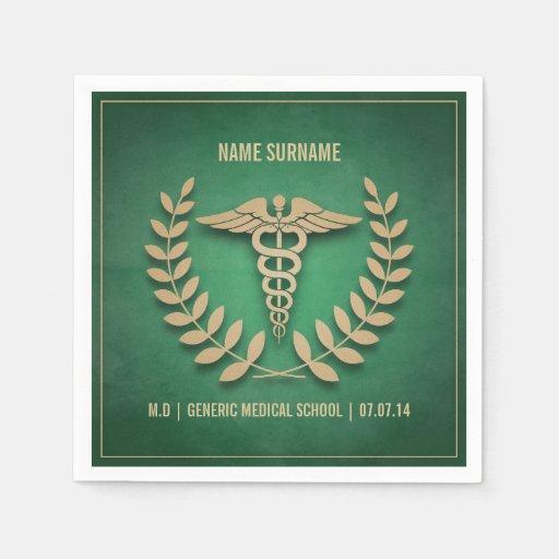 Verde e graduação da Faculdade de Medicina do ouro Guardanapos De Papel