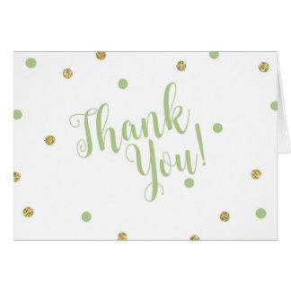 Verde e obrigado do brilho do ouro você cartões