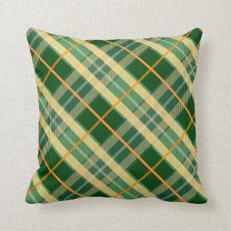 Verde e travesseiro da xadrez do ouro almofada