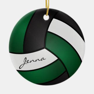 Verde escuro, branco & preto personalize o ornamento de cerâmica