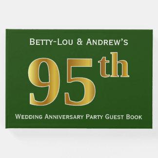 Verde, festa de aniversário do casamento do ouro livro de visitas