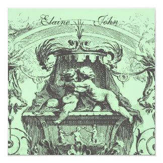 Verde francês da arquitetura dos anjos do querubim convite quadrado 13.35 x 13.35cm