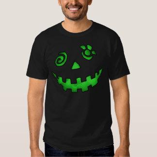 Verde louco da cara da abóbora da lanterna de Jack Camiseta