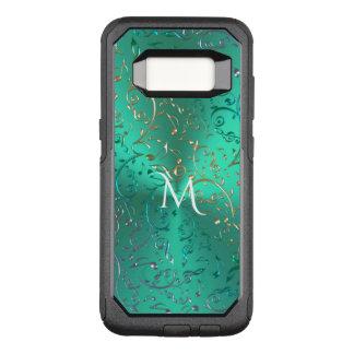 Verde metálico do monograma com notas Sparkling da Capa OtterBox Commuter Para Samsung Galaxy S8