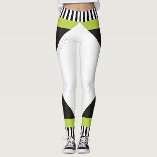 Verde moderno das listras preto e branco leggings