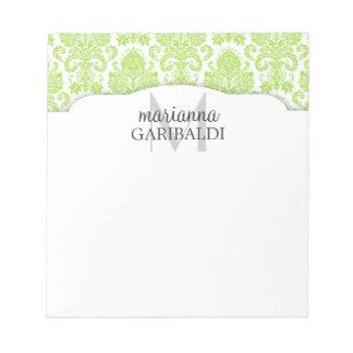 Verde moderno do damasco personalizado caderno de anotação