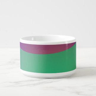 Verde roxo azul tigela de sopa