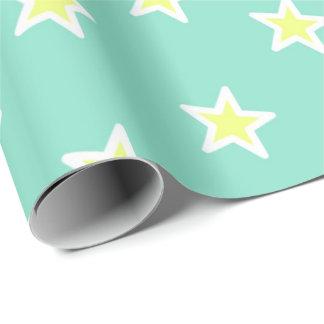 Verde super da espuma do mar da estrela papel de presente