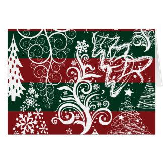 Verde vermelho festivo da árvore de Natal do Cartão De Nota