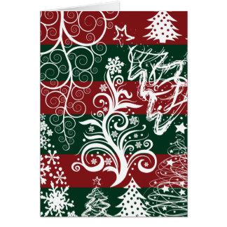 Verde vermelho festivo da árvore de Natal do Cartão Comemorativo