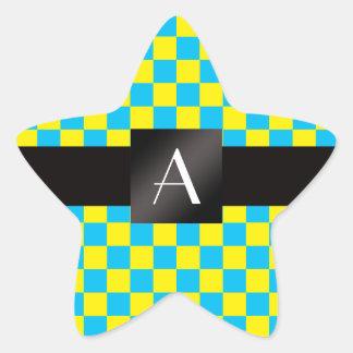 Verificadores amarelos e azuis do monograma adesivo estrela