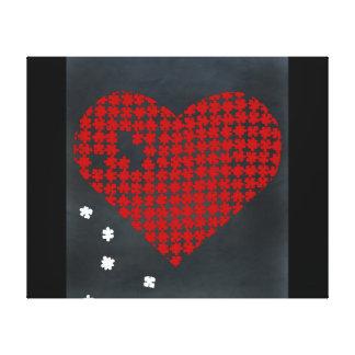 Vermelho 2 do coração do quebra-cabeça impressão em tela