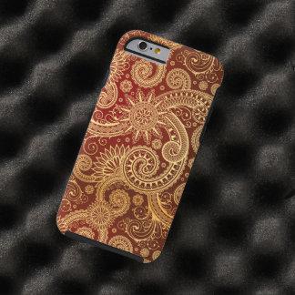 Vermelho abstrato e teste padrão floral do ouro capa para iPhone 6 tough