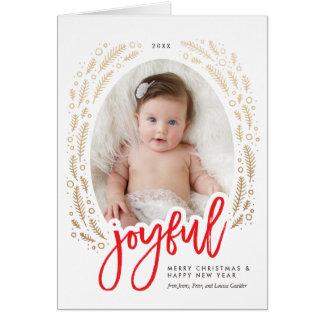 Vermelho alegre do quadro & cartão de Natal da