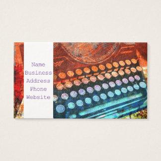 Vermelho azul PopArt da máquina de escrever Cartão De Visitas