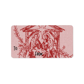 vermelho bonito da natividade etiqueta de endereço