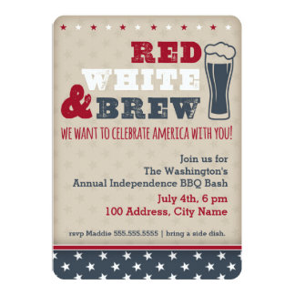 Vermelho, branco & fermentação convite 12.7 x 17.78cm